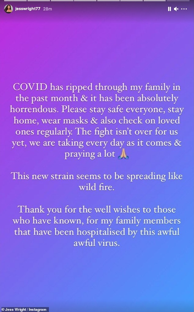 Health:The former TOWIE star, 35, took to Instagram to share an update after her mother and father Mark.Sr announced they had been struck down the virus