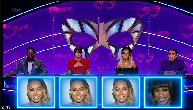 3/4: Judges Mo Gilligan, Davina McCall and Rita Ora correctly identified her. Fourth judge Jonathan Ross, however, was adamant it wasn't her as he had 'heard Mel singing up close' before - instead guessingTrisha Goddard