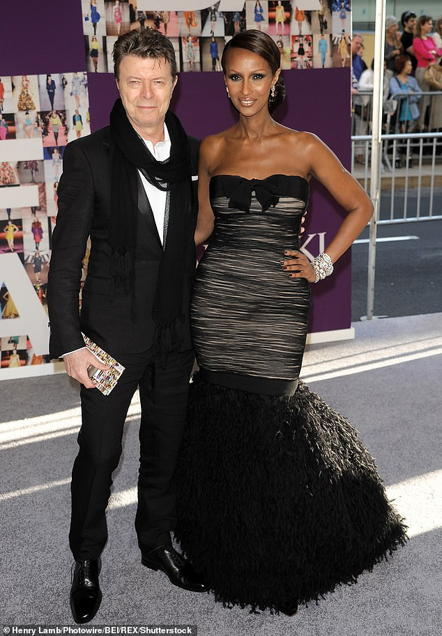 Her love: David Bowie's widow Iman shared a heartfelt tribute to him on what would have been his 74th birthday (pictured in 2010)