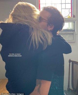 Brooklyn Beckham cuddles up to hisfiancée Nicola Peltz as they celebrate her 26th birthday