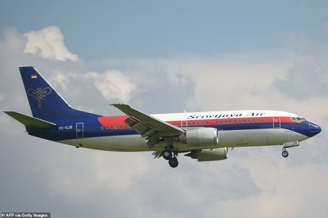 The Sriwijaya Air plane (file image of a similar plane) took off from the Indonesian capital on Saturday and was heading to Pontianak in West Kalimantan province when it lost contact with the control room, according to local media reports