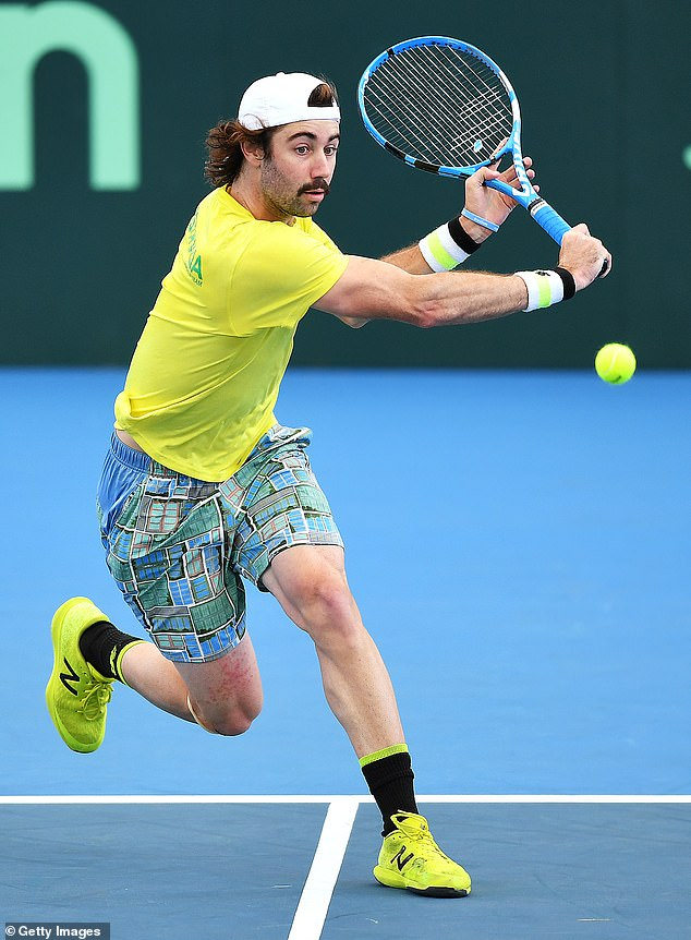 Athlete: The sports star made his Grand Slam debut at the Australian Open in 2014, and his highest ranking to-date is world number 43 back in July 2019. Pictured in March this year