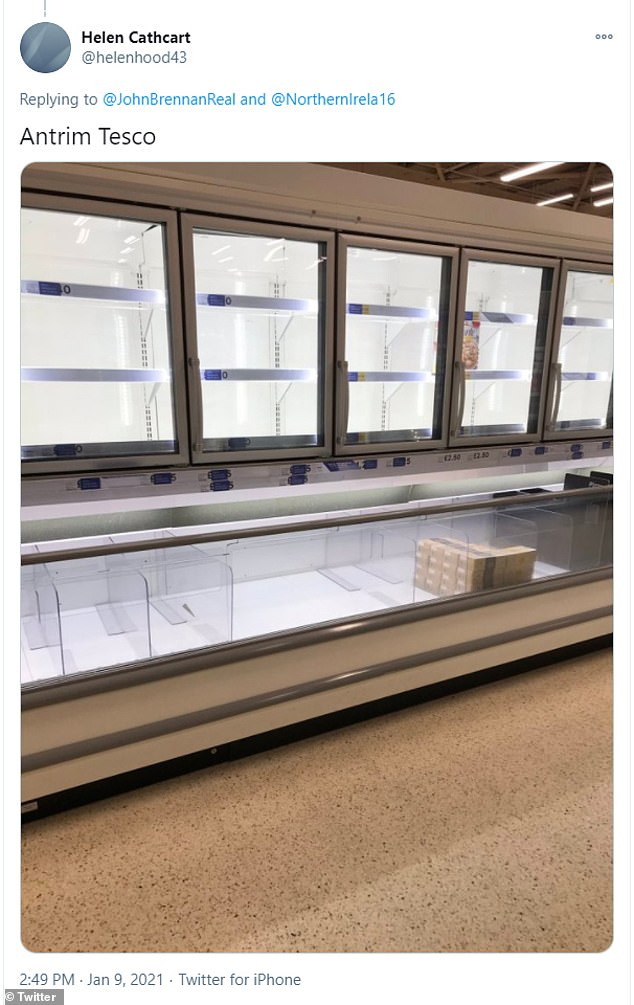 Helen Cathcart also shared a picture of empty Tesco shelves in Antrim, Northern Ireland