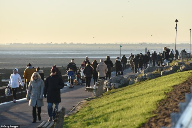 Crowds of people were seen walking along the seafront in  Southend (pictured) on the deadliest Saturday since April 18