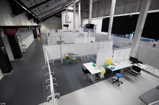 Vaccination booths inside Ashton Gate Stadium in Bristol.It comes after Prime Minister Boris Johnson admitted earlier this week the vaccination plan needs to speed up as figures revealed only one in 10 care home residents, and 14 per cent of staff, had been vaccinated so far