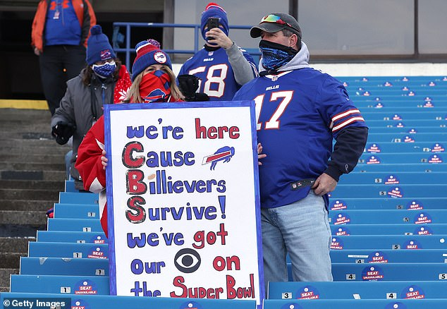Bills fans give CBS a plug in hopes of appearing on TV from the team's first home playoff game since December 28, 1996