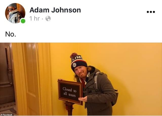 Photos on his now-deleted social media accounts show him posing next to a sign reading 'closed to all tours' inside the building
