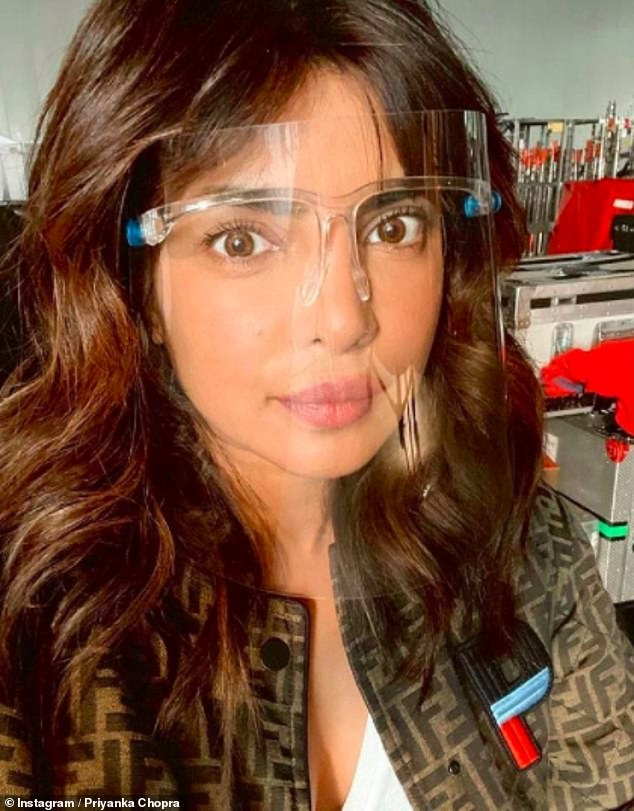 Taking precautions: Priyanka has previously explained how filming during the pandemic has required daily tests and lots of masks