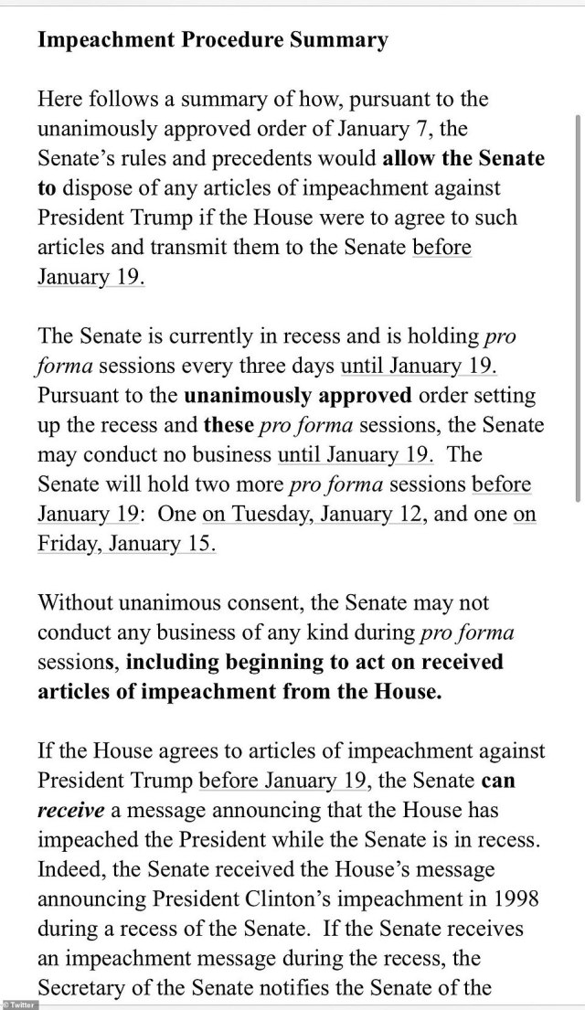 In the memo, McConnell notes that the Senate will not reconvene for conventional business until January 19 - just a day before Biden's inauguration