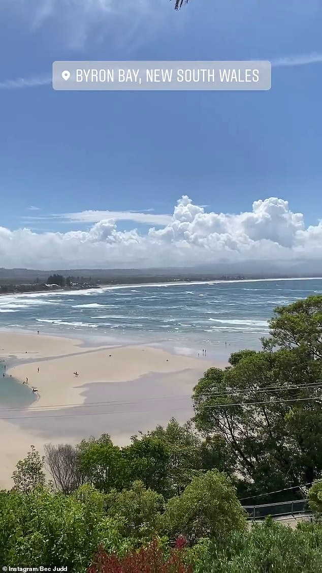 New year, new scenery: The fashion designer updated her followers on how her new year was going by uploading a video overlooking a picturesque beach at Byron Bay