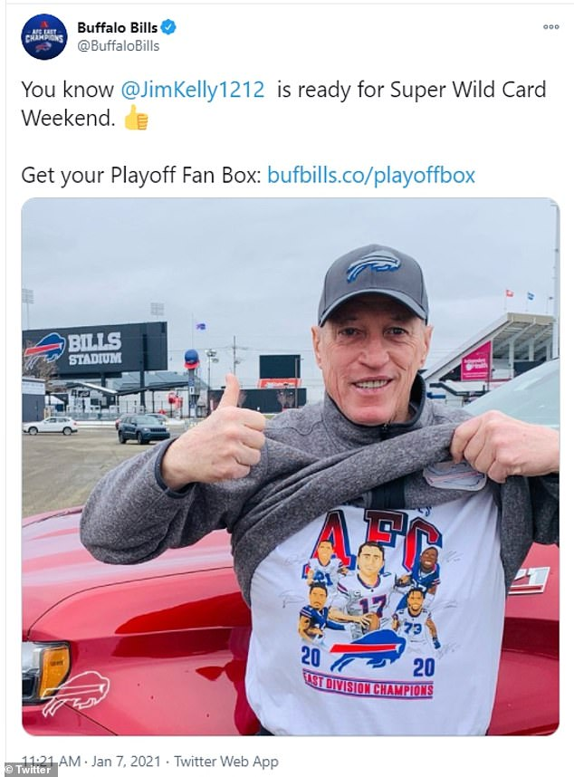 In Buffalo, there was some relief that members of the so-called Bills Mafia could finally see their AFC East champions in action up close. It will be Buffalo's first home playoff appearance since a 30-27 loss to Jacksonville on December 28, 1996, in what proved to be Hall of Fame quarterback Jim Kelly's final game. Kelly (pictured) was in attendance on Saturday