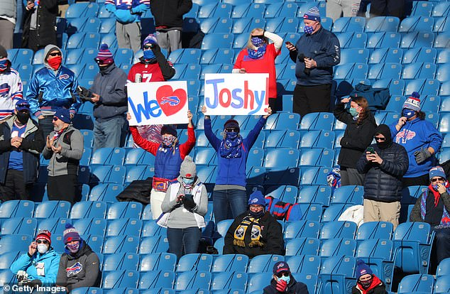Josh Allen fans look on during the first half of Saturday's Bills-Colts game in Orchard Park