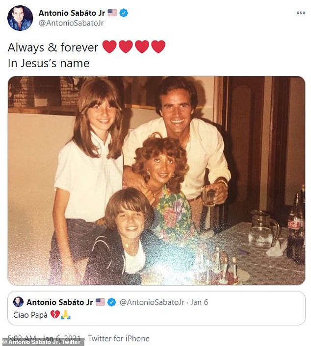 Prayers: Antonio Sabato Jr, confirmed the news on Twitter by sharing an old photo and writing: 'ciao papa'