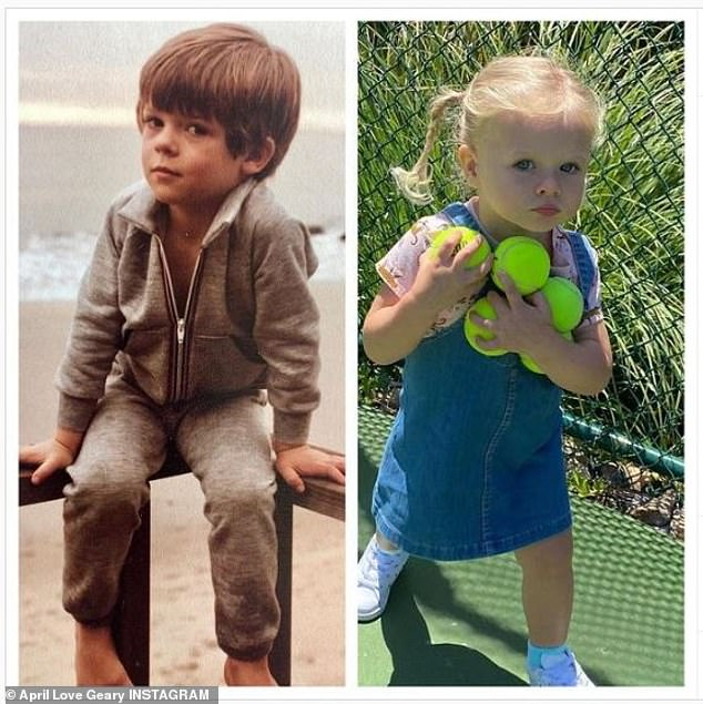 Daddy's girl: In December, Geary shared a photo juxtaposing a snap from her partner's youth with a picture of her daughter Mia, with many of her followers commenting on the resemblance between the two