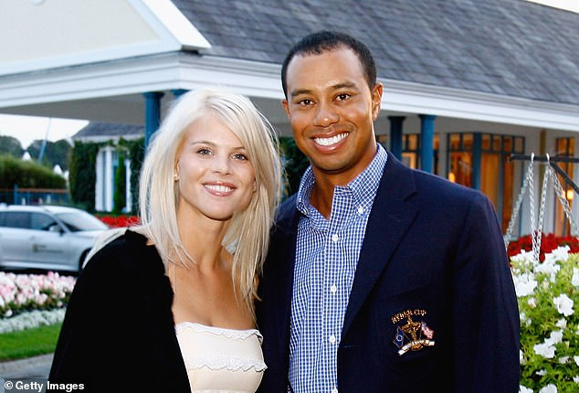 Uchitel's affair with Tiger Woods (right) contributed to he collapse of his marriage to Elin Nordegren (left) ended. Woods and Nordegren are pictured in 2006
