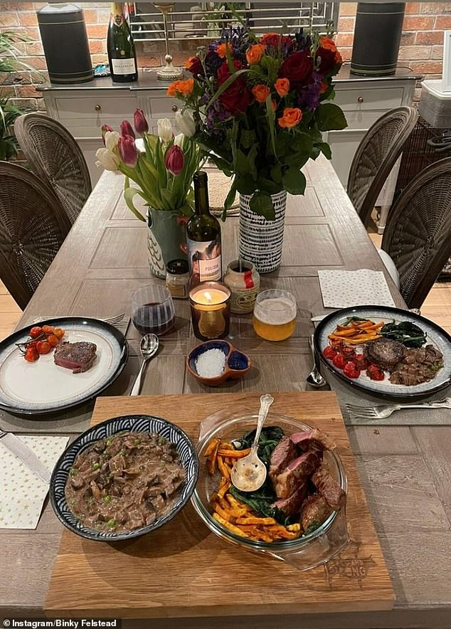 Dinner for two:Binky later gave fans a glimpse of their romantic date on her Instagram story, sharing snaps of the food they ate together as well as the non alcoholic beer Max had prepared for the two