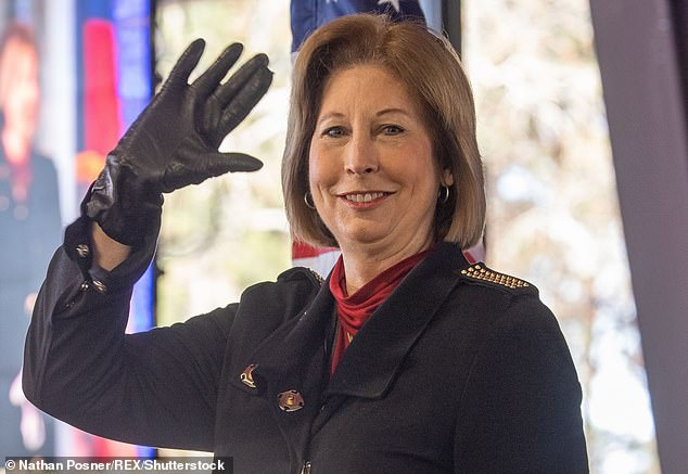 The 'Unleash the Kraken' symbol has only recently emerged after Trump former lawyer Sidney Powell, pictured above, used the line as she claimed that she was going to unleash evidence that proved widespread voter fraud and take back the election from Joe Biden
