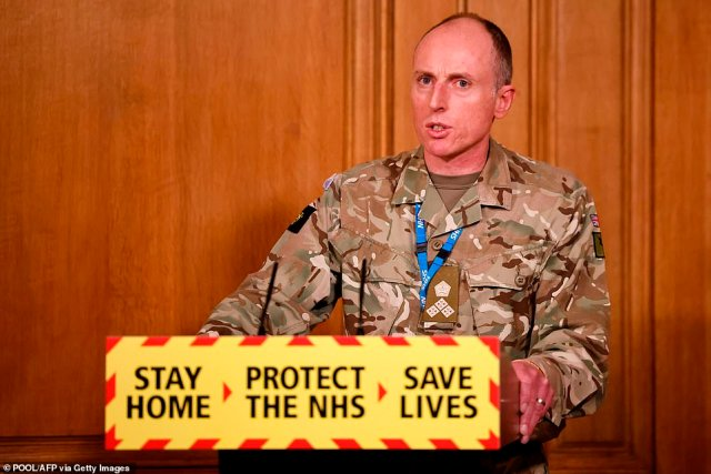 Britain¿s Armed Forces have established a ¿vaccine quick reaction force¿ of troops who will ensure that vaccination centres across England do not run out of available jabs. Pictured: Brigadier Phil Prosser attends a press conference on January 7