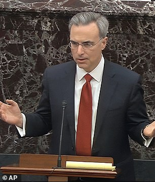 Pat Cipollone speaking during Trump's first impeachment trial