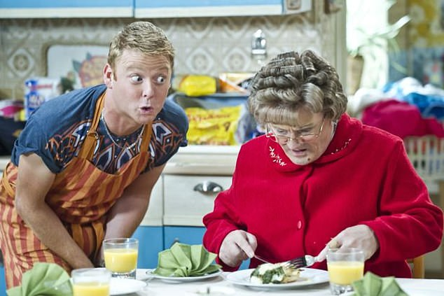 Hollywood pictured above with Mrs Brown, who is played by Brendan O'Carroll
