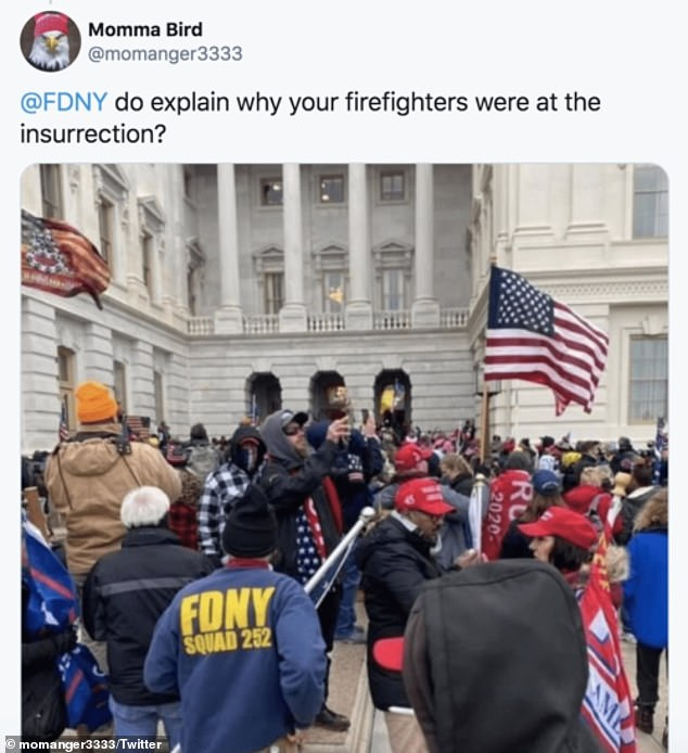 A Twitter user, who appears to have deleted their account, tweeted out the photo of a man wearing a FDNY Squad 252 jacket. He is believed to be retired