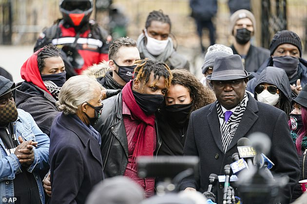 Harrold Sr. and Keyon Jr.'s mother, Kat Rodriguez, held a rally in Manhattan for their son on Wednesday, alongside civil rights attorney Ben Crump (right) and Rev. Al Sharpton (left)