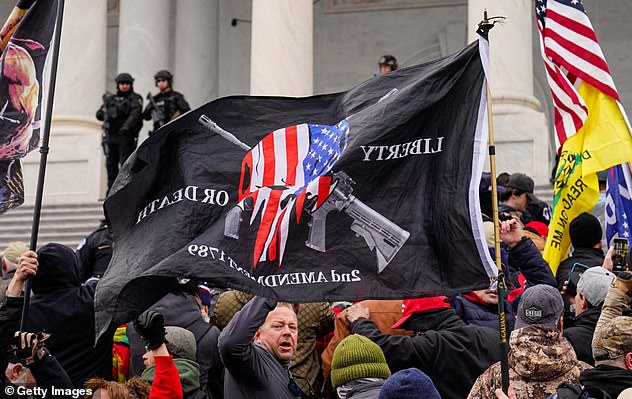 The black flag in the center Wednesday promotes 2nd Amendment Rights