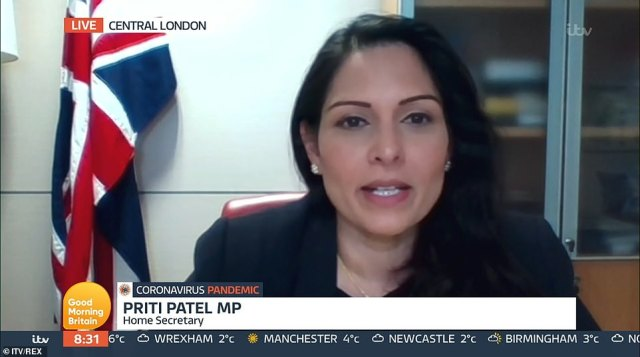 Ms Patel said: 'The tragic number of new cases and deaths this week shows there is still a need for strong enforcement where people are clearly breaking these rules to ensure we safeguard our country's recovery from this deadly virus'