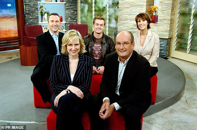 Prankster: The former weatherman, who appeared on the morning TV show from 2004 to 2006 and again in 2010 to 2013, said if he managed to offend his co-star Melissa Doyle (front left) with his antics, he was onto a winning segment. Grant is pictured with the cast of Sunrise