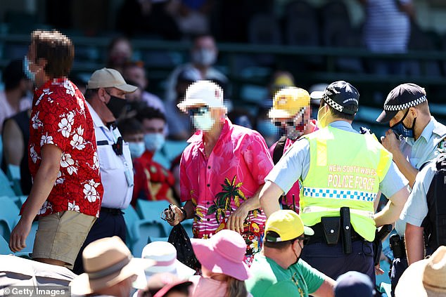 Six men were ejected from the Sydney Cricket Ground on Sunday and escorted from the venue by police