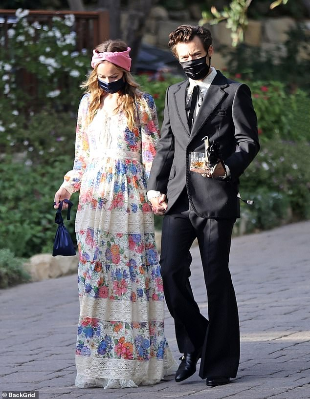Love is in the air:Olivia and Harry were most recently spotted holding hands while attending his agent's wedding in Montecito, California last week