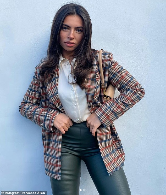 Smart:Francesca Allen cut a chic figure as she donned a blazer and leather trousers for a series of snaps posted to Instagram on Sunday