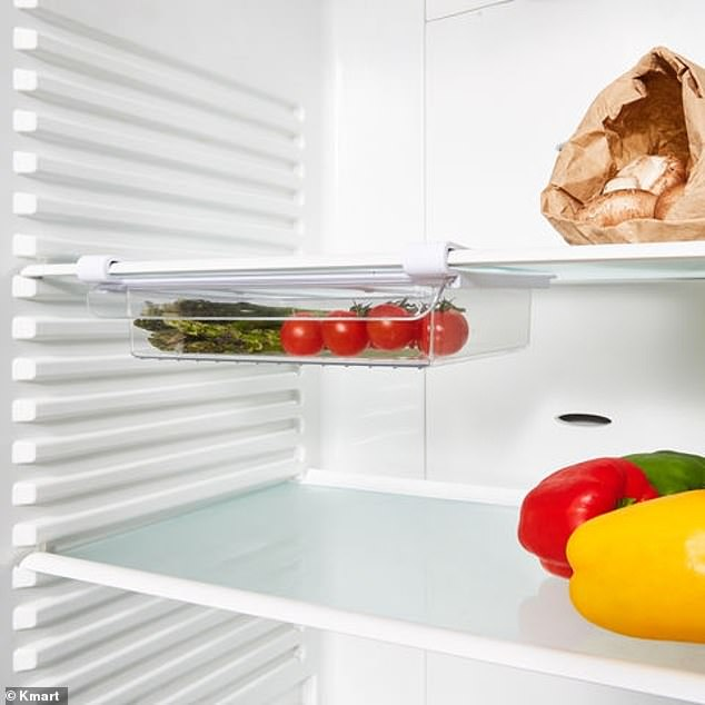 The $6 under shelf fridge drawer is a genius product that can be added to any existing shelf in the fridge