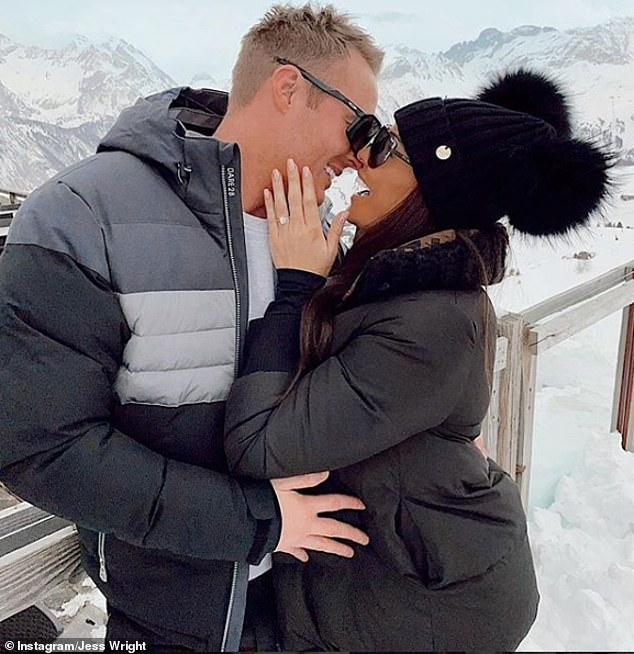 Future husband and wife: Jess confirmed she and William were engaged in March 2020 with a sweet snap of the couple kissing in the French Alps