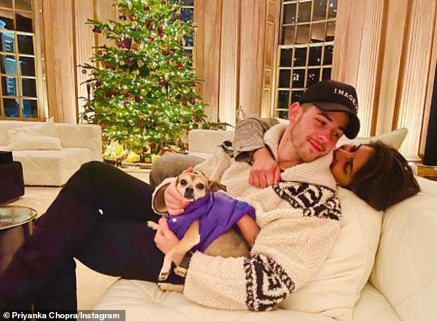 Happy place: Though quarantine has been hard on everyone, Chopra said she feels 'blessed' to have been given 'the ability to spend a lot of time together,' as usually their work schedules conflict; pictured December 14