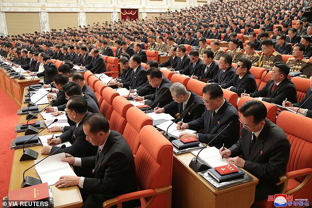 Attendees take part in the 8th Congress of the Workers' Party in Pyongyang, North Korea, in this photo supplied by North Korea's Central News Agency (KCNA) on January 11