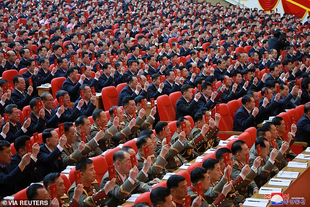 A general view of attendees at the 8th Congress of the Workers' Party in Pyongyang, North Korea