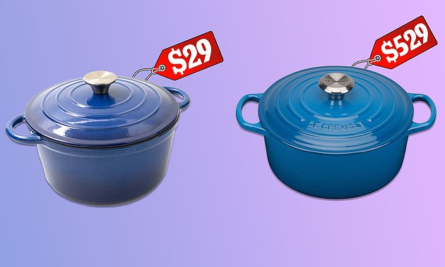 Australian consumer experts from CHOICE have praised a $29 cast iron casserole pot from Kmart (left) that rivals high-end French brand Le Creuset (right) costing upwards of $529