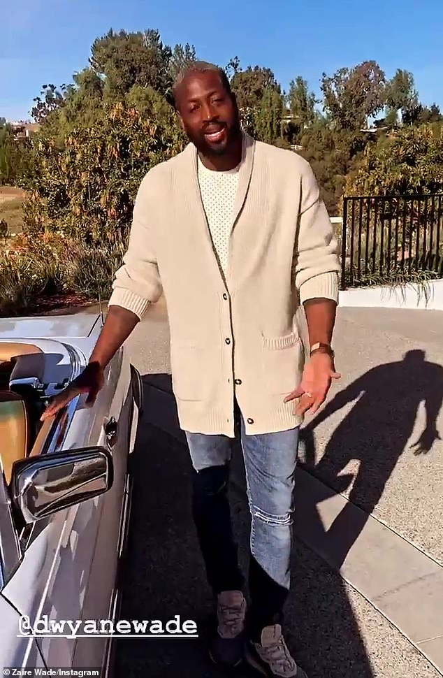 Birthday boy: Wade's post received congratulatory comments from What/If star Keith Powers, Love Wedding Repeat actress Olivia Munn, Dallas Mavericks shooting guard Josh Richardson, and SI Swimsuit stunner Jasmine Sanders