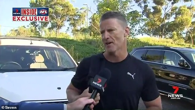 Damien Hardwick spoke briefly with reporters on Monday, and asked for the public to respect his privacy but said he understands the 'interest' in his affair