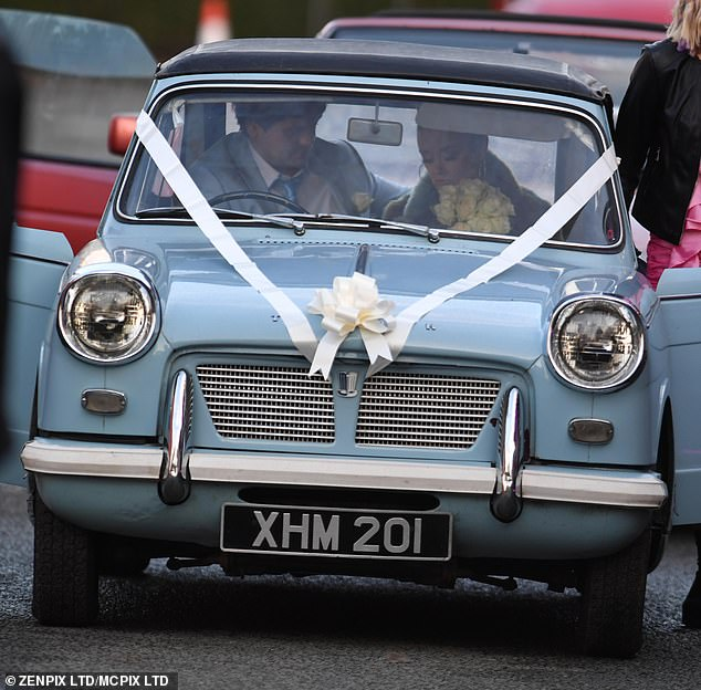 Loved-up: Bronagh was seen arriving in a vintage blue wedding car alongside with her co-star Tom Hanson, who played her new husband (Cardi)