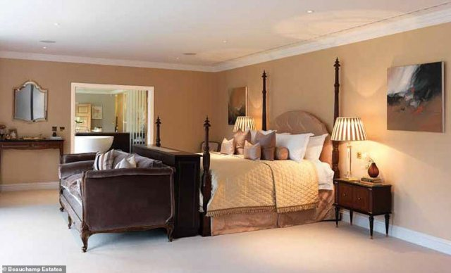 Fit for a princess! The principal bedroom, pictured, has two marble bathrooms and is the size of a typical apartment