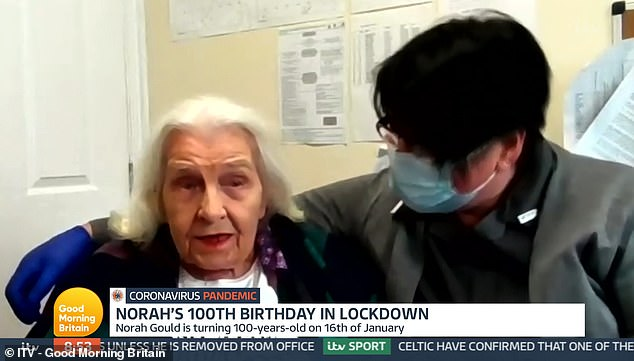 Care home resident Norah Gould (left) delighted Good Morning Britain viewers after appearing with care home manager Tanya White (right)