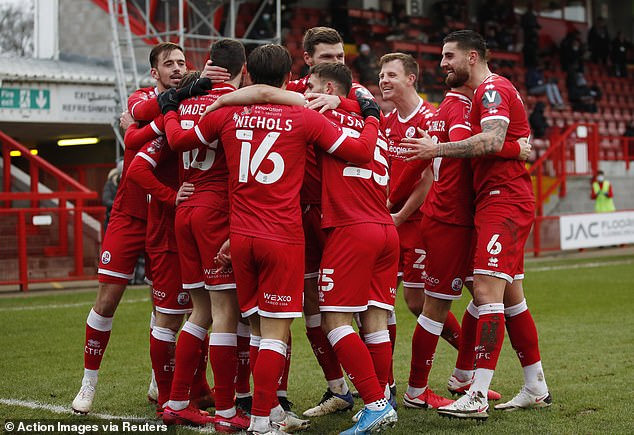 Crawley Town also celebrated on and off the pitch after a remarkable win against Leeds United