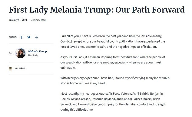 The first lady issued a 600-word statement called Our Path Forward which was published on the White House website early on Monday