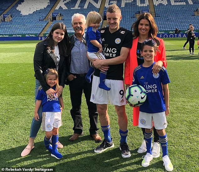 Love: Rebekah Vardycalled her footballer husband Jamie 'the most amazing human being' on Monday as she shared a series of family snaps on Instagram and marked his 34th birthday