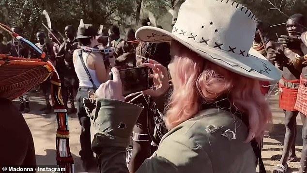 Yesterday, she shared a video of herself and Williams with the Pokot tribe of western Kenya (pictured)