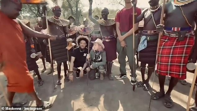 Since arriving in Kenya, Madonna and her family have been spending time with the Pokot Tribe in the Baringo Valley (footage from their time with the tribe, pictured)