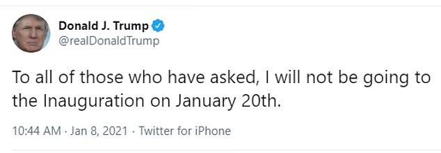 Donald Trump dejó en claro que no asistiría a la inauguración de Joe Biden el 20 de enero en un tweet la semana pasada, antes de que sus cuentas de redes sociales fueran suspendidas permanentemente.