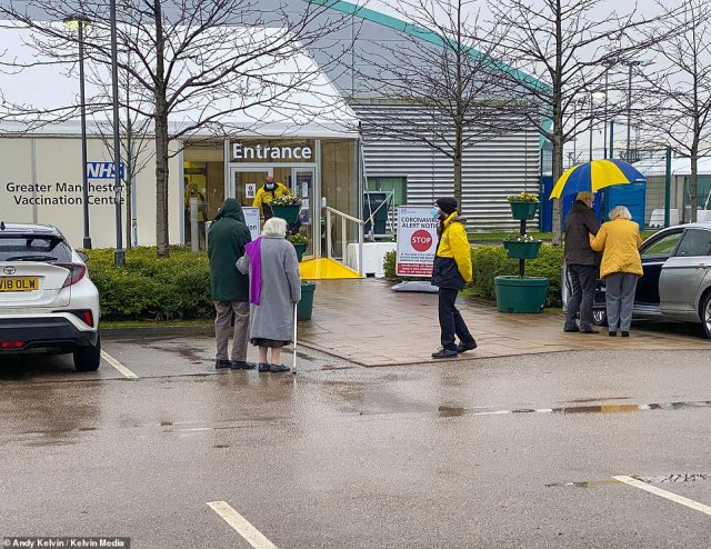 Manchester's mass covid-19 vaccination centre at the Etihad Campus, where elderly members of the public arrived early for jabs